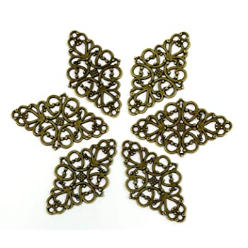 Vintage Style Bronze Tone Alloy Cute Hollow Flower Charm Jewelry Connector 120pc