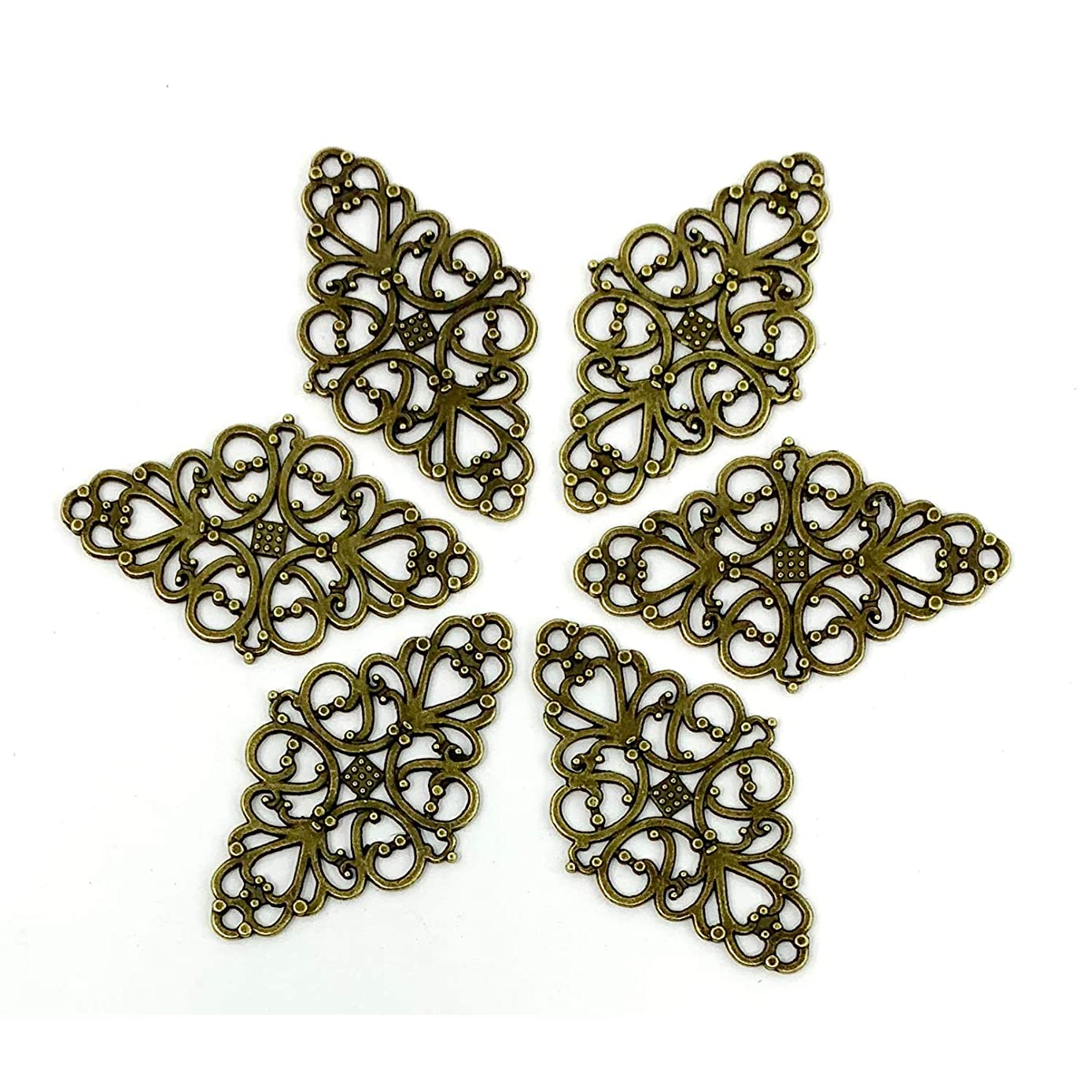 Filigree Flower Plate Charms, JIALEEY 40pcs Hollowed-Out Rhombic Pendant Connector for DIY Jewelry Making Wrapping Accessories(Bronze Tone)