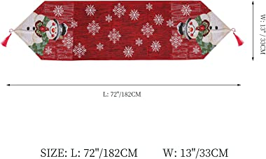 Christmas Table Runner, Pattern with White Snowflake Snowman, Red Table Runners 72 Inches Long, Indoor or Outdoor Holiday Par