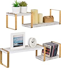 MyGift 2 Tier Shabby Whitewashed Wood and Modern Brass Metal Frame Wall Mounted Floating Storage Display Shelves, Set of 2