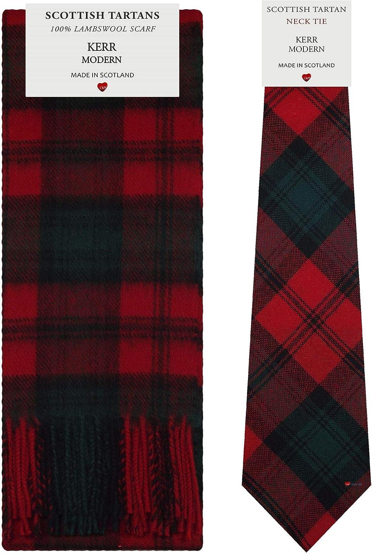 Kerr Modern Tartan Plaid 100% Lambswool Scarf & Tie Gift Set