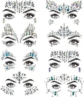 Face Gems, 8 piezas gemas de la cara Face Jewels Pegatinas de diamantes de imitación, Women Mermaid Rave Festival Cristales Glitter, auto adhesivo Tatuajes temporales Eyebrow Face Body Jewelry