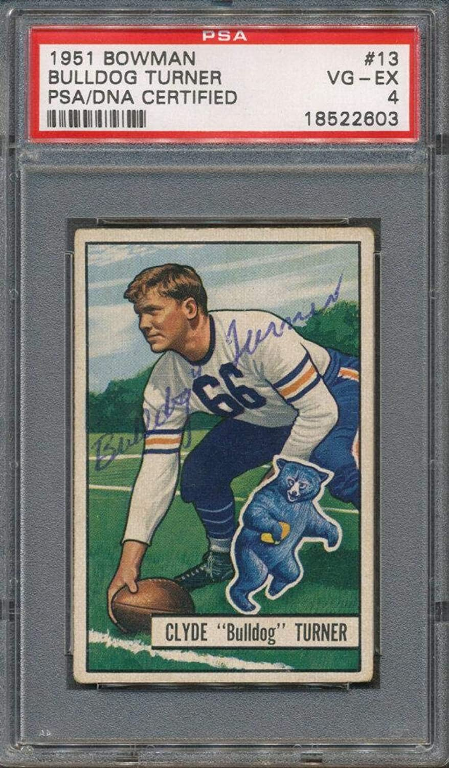 1951 Bowman  13 Bulldog Turner Certified Authentic Auto Autograph 2603PSA DNA CertifiedFootball Slabbed Autographed Cards