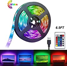 Gluckluz LED Strip Light, TV Back Lights Strips 2M Waterproof Lighting with Remote Control, Decoration Strip Kit for PC Desktop HDTV Kitchen Home Theater Monitor (Color Changing, USB Powered)