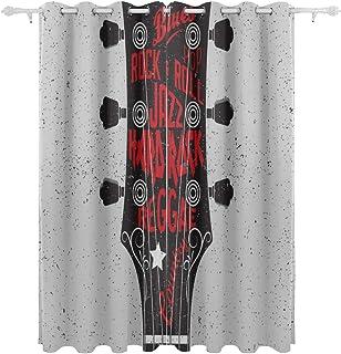 88cf87797433 Guitarra eléctrica rodeada de relámpagos Colgante decorativo Conjunto de 2  paneles Cortinas de ventana con cortinas