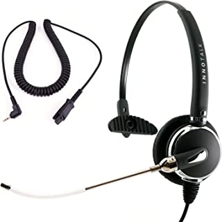 2.5 mm Voice Tube Microphone Monaural Headset Package - Pro Headset + 2.5 mm Headset Cord Compatible with Plantronics QD