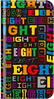 iphone8 ケース 手帳型 eight フォント デザイン トレンド カバー スマホケース アイフォン(iPhone8用, カラーミックス※黒ベース)