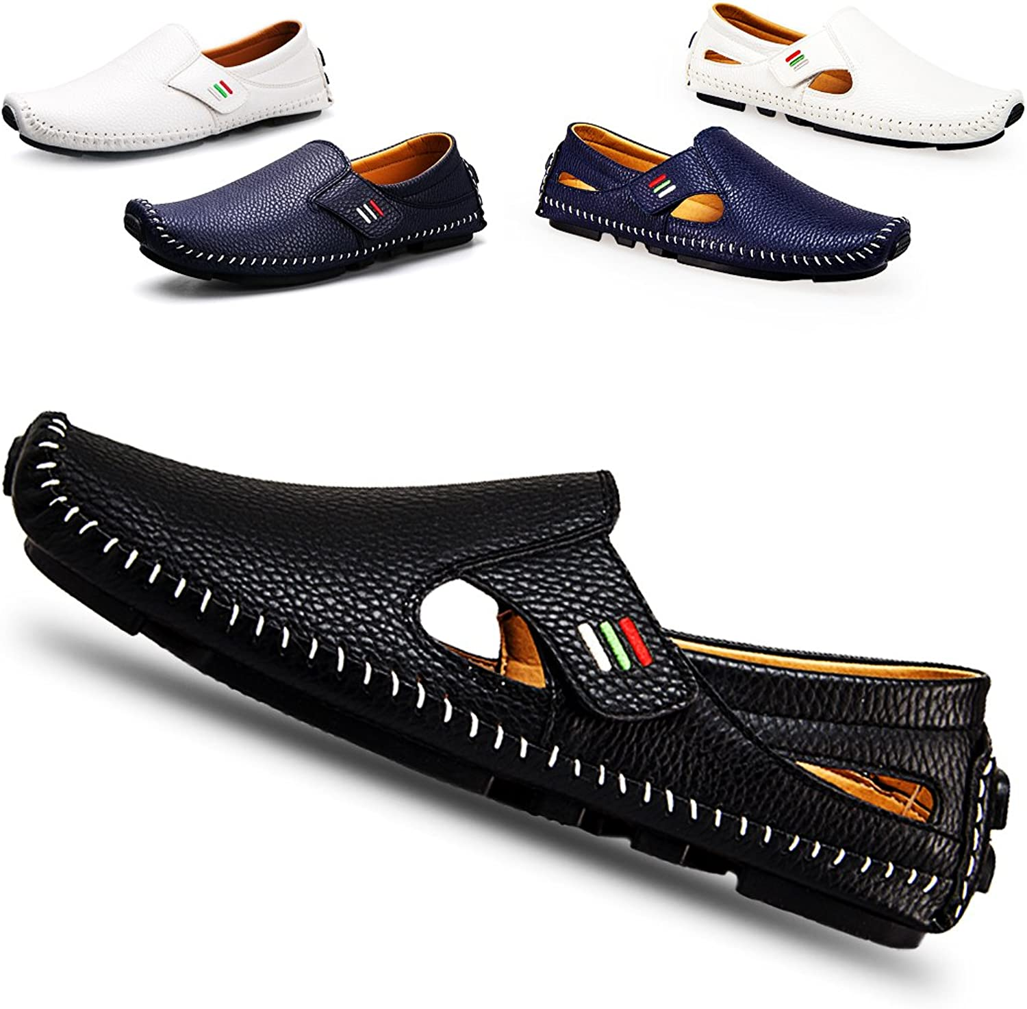 Ceyue Men's Driving shoes Penny Loafers Casual Leather Stitched Loafer shoes