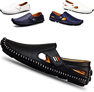 ceyue Men's Loafers Flats Driving Penny Loafers Casual Leather Stitched Slip On Shoes