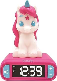 Lexibook-RL800UNI Veilleuse Enfant, Lumineuse, Effets sonores Licorne, Horloge, réveil pour Fille, Snooze, Couleur Rose, R...