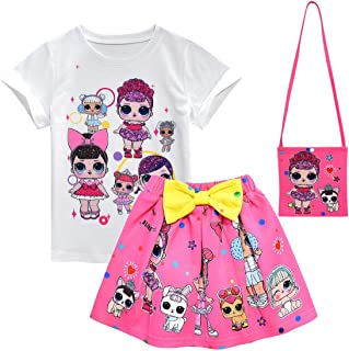 Trodier Girl T-Shirt Short Sleeve LOL Girls Childrens Surprise Clothes Top Tee 2-8 Years