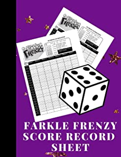 Farkle Frenzy Score Record Sheet: A Cute Purple Large Scoring Card Pads, Log Book Keeper, Tracker, Of Farkle Game Set Dice Thrown; With 100 Pages To ... and Management For Kids And Adults