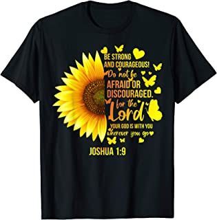 Christian Sunflower Joshua 1:9 Bible Verse, Girls Pretty T-Shirt