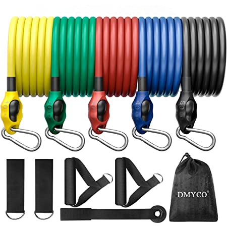 Stackable Exercise Bands Up to 150 Lbs with Door... DMYCO Resistance Bands Set