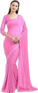 Mirchi Fashion Indian Women's Chiffon Beads Work Saree (5843_Pink)