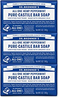Dr. Bronner's - Pure-Castile Bar Soap (Peppermint, 5 ounce) - Made with Organic Oils, For Face, Body and Hair, Gentle and ...