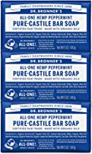 Dr. Bronner's - Pure-Castile Bar Soap (Peppermint, 5 ounce, 3-Pack) - Made with Organic Oils, For Face, Body and Hair, Gentle and Moisturizing, Biodegradable, Vegan, Cruelty-free, Non-GMO