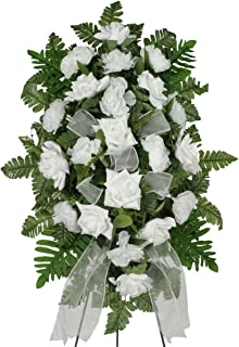 Sympathy Silks White Diamond Rose and Carnations Silk Standard on Easel (ST1631)