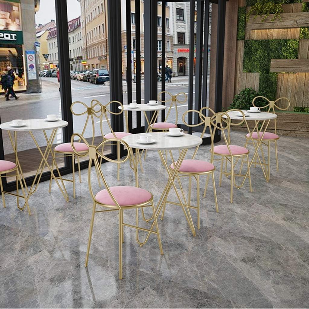 XIAOZHUZHU Sièges de Coiffeuse, Chaise de Salle à Manger Dossier Chaise Filles Chambre Maquillage Chaise Chaise en métal Restaurant café Chaise Longue Tabouret Maison,Vert Pink