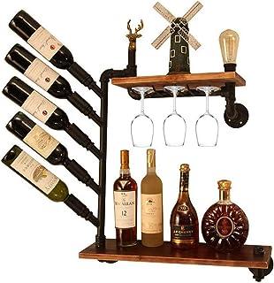 XHCP Organiser la Cuisine Support Mural pour casier à vin de Style Industriel Vintage LOFT étagère Murale étagère de Range...