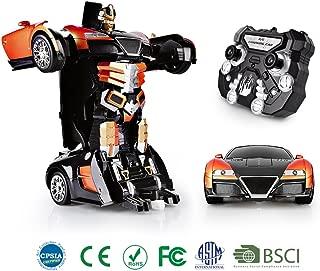 SainSmart Jr. Transformation Car Toy Bugatti Car Robot for Kids, RC Car One Button Transforms into Robot, Remote Control Transforming Robot (Orange)