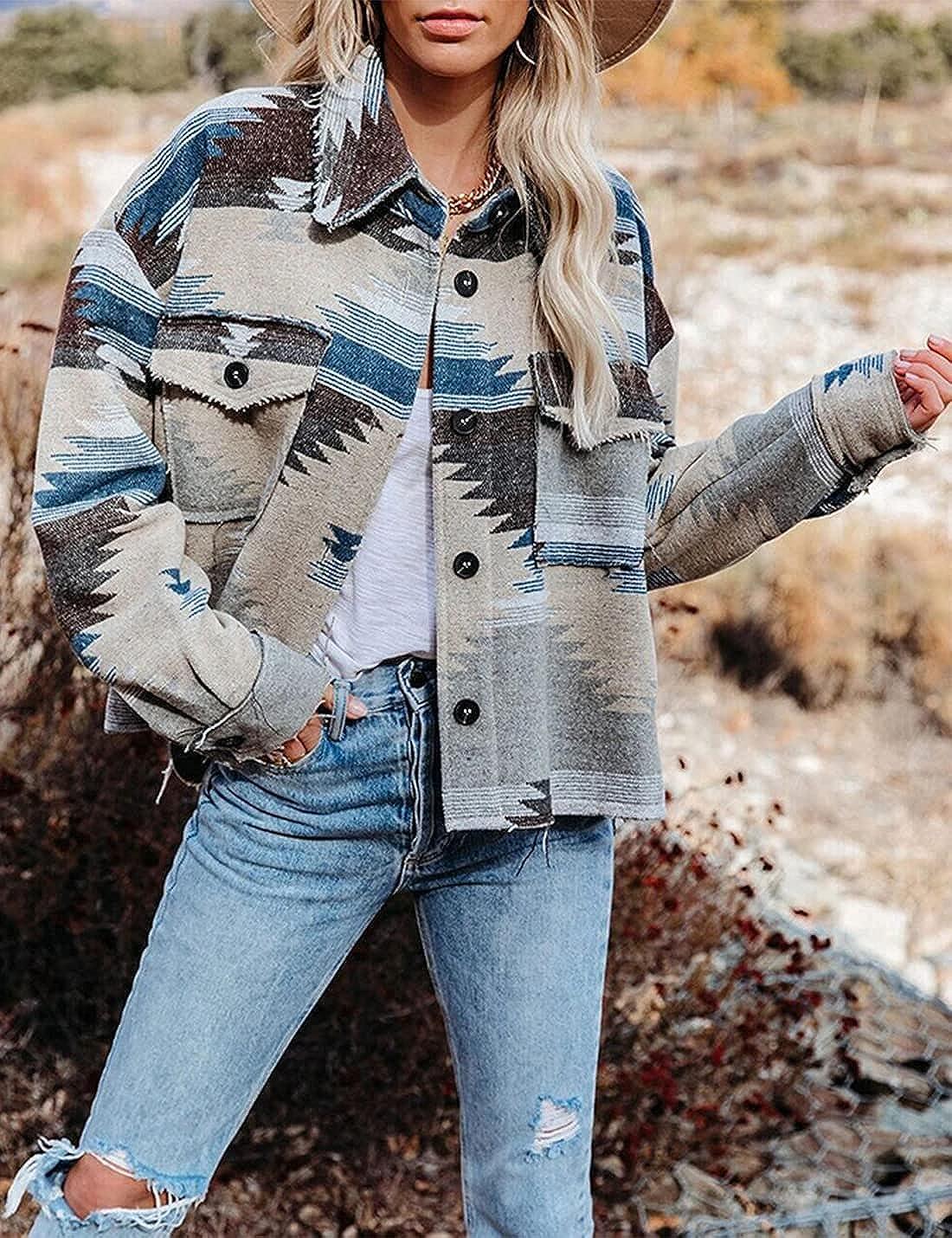 Peaceglad Women's Plaid Long Sleeve Button Down Lapel Single Breasted Shirt Jacket