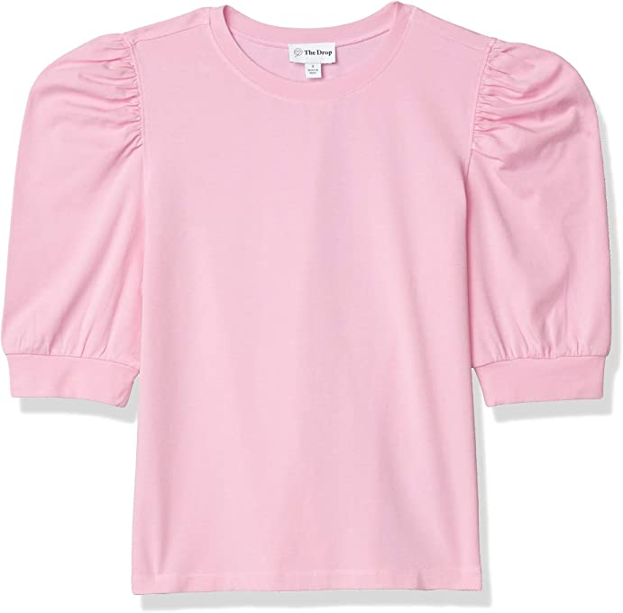 The Drop Women's Mariko Puff-Sleeve Crew-Neck Stretch Jersey T-Shirt