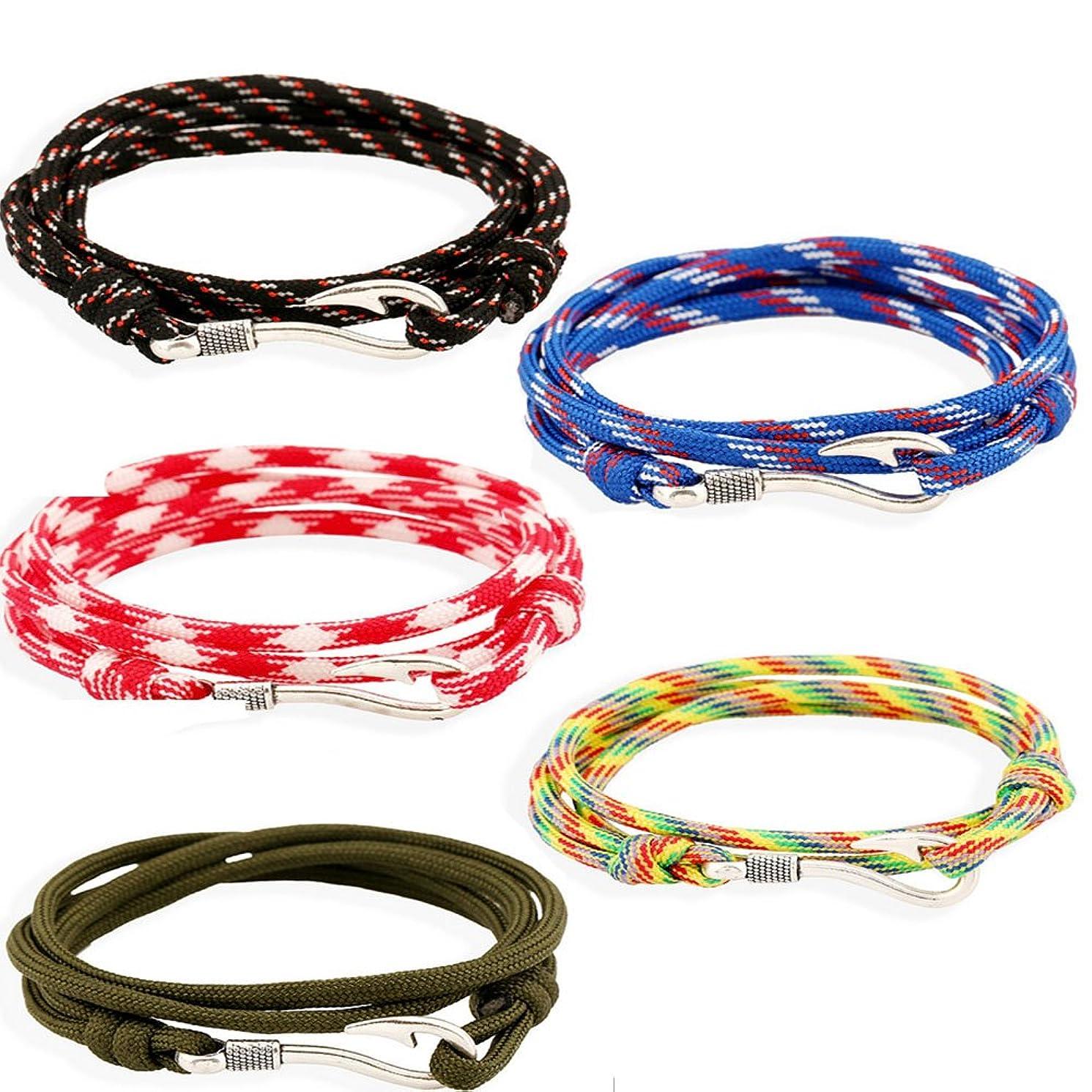 Fashionsupermarket 5-10pcs Nylon Rope Wrap Military Camouflage Nautical Fishook Bracelet, DIY Bracelet,Anklet,Necklace,32 Inch