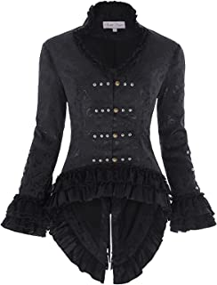 Womens Steampunk Victorian Tail Jacket Coat with Back Lacing