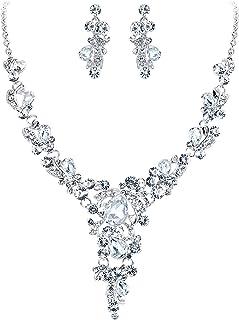 BriLove Women's Wedding Bridal Crystal Leaf Vine Teardrop Hollow Statement Necklace Dangle Earrings Set