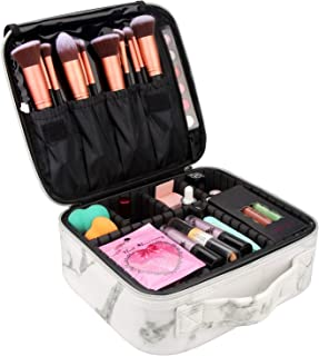 Travel Makeup Case,Chomeiu- Professional Cosmetic Makeup Bag Organizer,Accessories Case, Tools case (Black-M) (Marble-M)