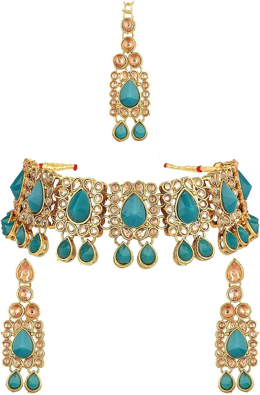 Efulgenz Indian Jewelry Kundan Crystal Choker Necklace Earrings Maang Tikka Head Chain Bollywood Wedding Bridal Set, Green