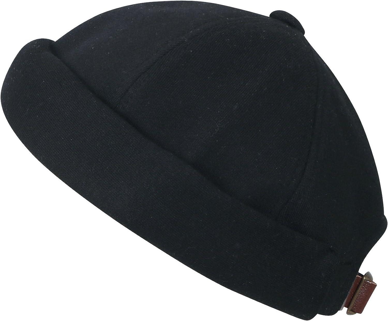 ililily Solid Color Cotton Short Beanie Strap Back Casual Hat Soft Cap