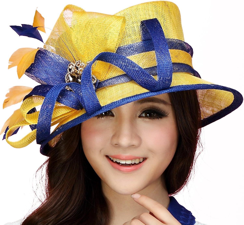 June's young Women Hats Summer Big Sinamay Handmade Top Crown