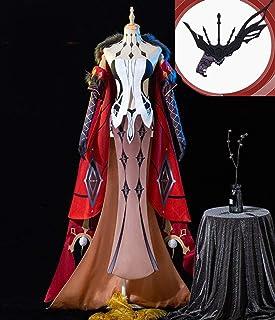Ipara 高品质 頭飾り仮面付き 原神(Genshin) 愚人衆(ファデュイ)執行官 第8位 コードネーム 淑女(シニョーラ) コスプレ衣装 コスチューム 風 仮装 ウィッグ、靴追加 (XL)