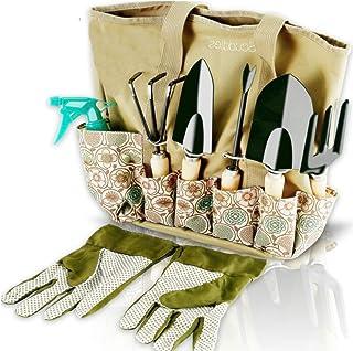 Scuddles ابزار باغ مجموعه - 8 قطعه ابزار کار باغبانی سنگین با سازنده ذخیره سازی، ارگونومیک دستی حفاری Weeder، راک، بیل، ترول، اسپری، دستکش هدیه برای مردان و زنان