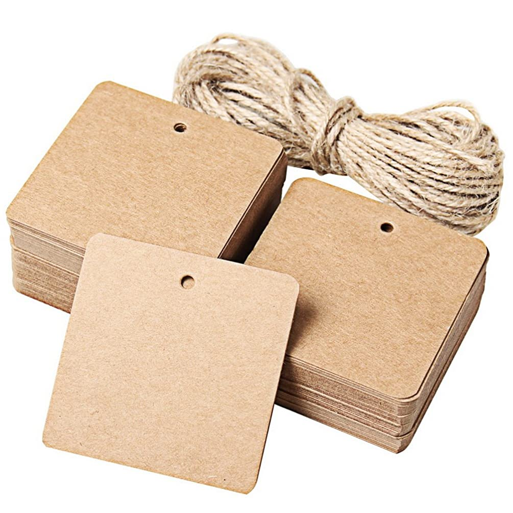 Wode Shop 100 pcs Kraft Paper Gift Tags, Back to School Gift Tags Kraft Hanging Tags with String Square Shape Tags with 8 M Twine
