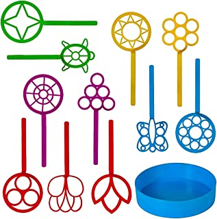 Neliblu Bulk Bubble Wand Set - Bubbles for Kids - Bubbles Wand Assortment - Party Favor Set of 11 Assorted Shapes and Colors Plus a Convenient Bubble Solution Tray