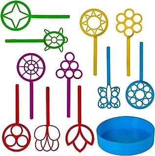 Neliblu Bulk Bubble Wand Set - Bubbles Wand Assortment - Party Favor Set of 11 Assorted Shapes and Colors Plus a Convenient Bubble Solution Tray