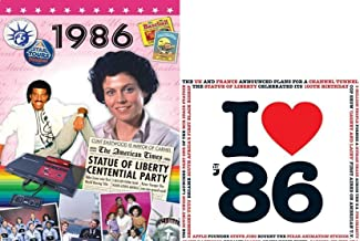 1986 BIRTHDAY or ANNIVERSARY GIFT - 1986 DVD with Best 57 Minutes of News Footage & 1986 Music Compilation CD with 20 Original Hit Songs and Two Year Greetings Cards