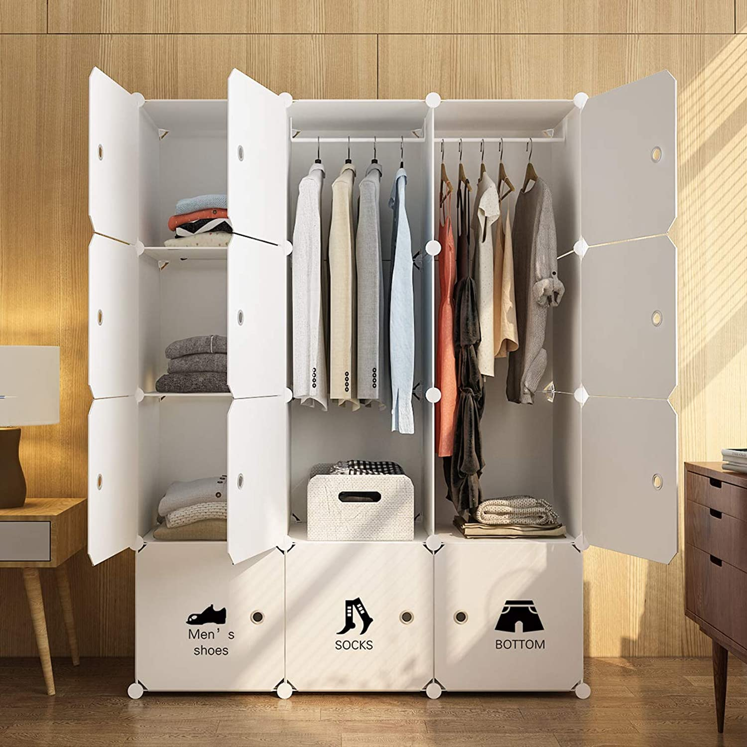 MAGINELS Portable Wardrobe Closet Armoire Cube Storage Organizer for Clothes Bedroom with Drawer White (6 Cubes & 2 Hanging Section FBA)