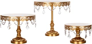 Amalfi Decor Cake Stand Set of 3 Pack, Dessert Cupcake Pastry Candy Display Plate for Wedding Event Birthday Party, Round Metal Pedestal Holder with Crystals, Gold
