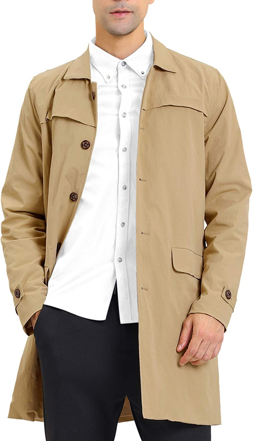 Lars Amadeus Men's Trench Coat Single Breasted Button Down Jacket Long Overcoat