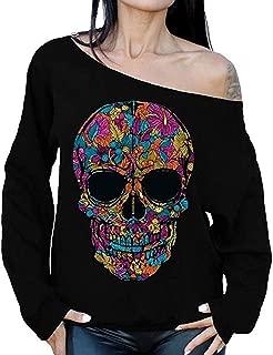 ASMAX Womens Day of Dead Sexy Off Shoulder Sugar Skull Long Sleeve Pullover Sweatshirt