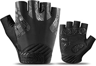 INBIKE Cycling Gloves, Touch Screen Mountain Bike Gloves EVA Pads Palm Half Finger Reflective for Men