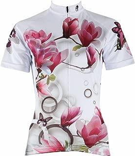 ILPALADINO Women's Cycling Jersey Short Sleeve Biking Shirts Flowers Butterflies