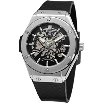 Sweetbless出品 腕時計メンズ自動巻き機械式 スケルトン ティーンエイジャー ブラック