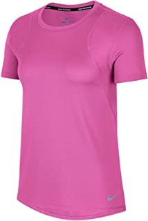 Nike Women's Run Top SS, Silver(Active Fuchsia/Reflective Silv623), X-Large
