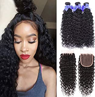 Water Wave Bundles with Closure Ocean Wave Human Hair Extensions Brazilian Deep Curly Wet and Wavy Human Hair Weave Bundles With Closure Free Part Natural Color No Shedding (22 24 26+20,free part)