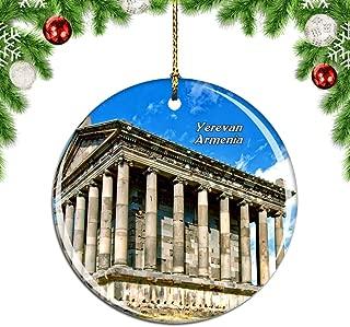 Weekino Garni Temple Yerevan Armenia Christmas Xmas Tree Ornament Decoration Hanging Pendant Decor City Travel Souvenir Collection Double Sided Porcelain 2.85 Inch